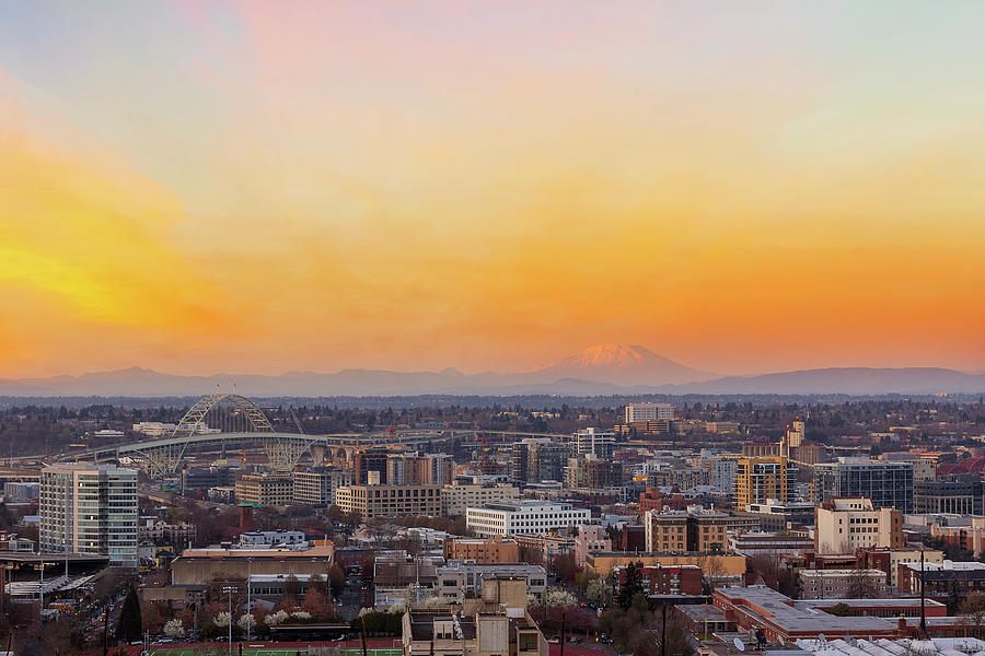 Portland Photograph - Sunset over Portland Cityscape and Mt Saint Helens by David Gn