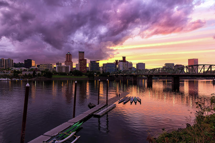 Sunset Photograph - Sunset Over Portland Oregon Downtown Waterfront by David Gn
