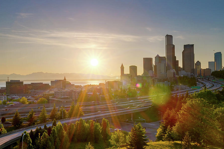 Seattle Photograph - Sunset Over Seattle Downtown Skyline by David Gn