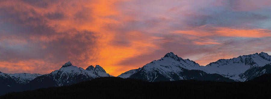 Tantalus Photograph - Sunset over Tantalus Range Panorama by David Gn