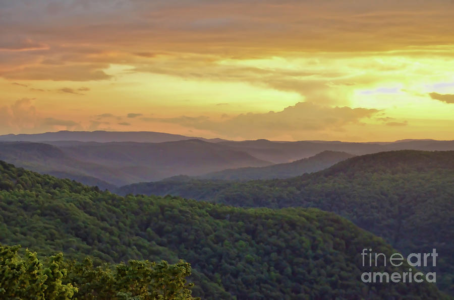 Sunset Photograph - Sunset Over The Bluestone Gorge - Pipestem State Park by Kerri Farley