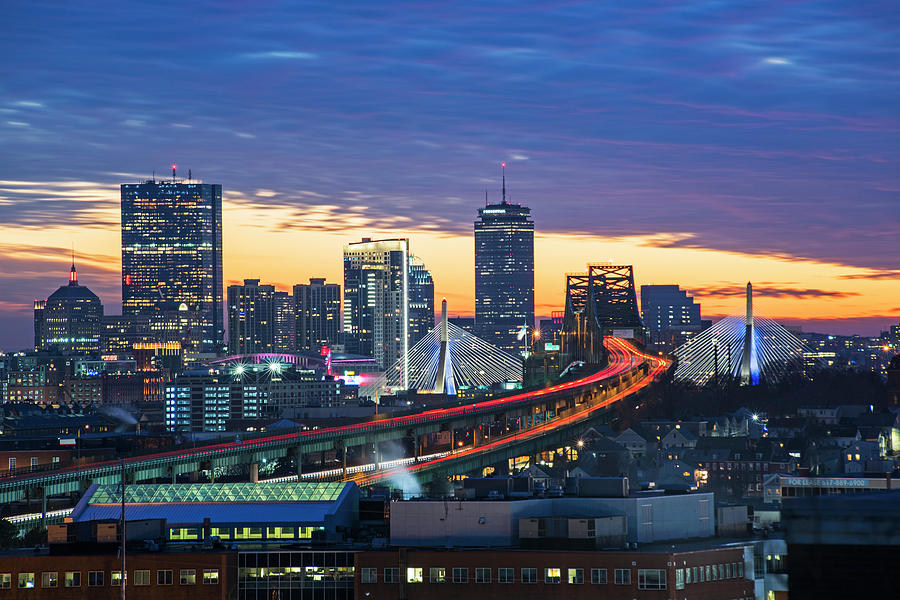 Sunset Over The Boston Skyline Boston Ma Zakim Photograph