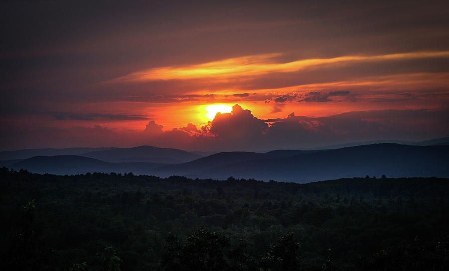 Sunset Over the Catskill Mountains and Rondout Valley by John Morzen