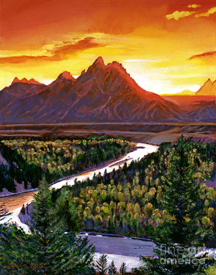 Mountains Painting - Sunset Over The Grand Tetons by David Lloyd Glover