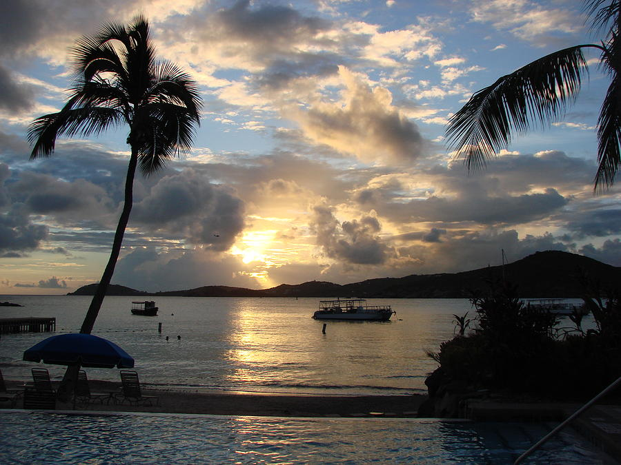 Caribbean Photograph - Sunset over the Inifinity Pool at Frenchmans Cove in St. Thomas by Margaret Bobb