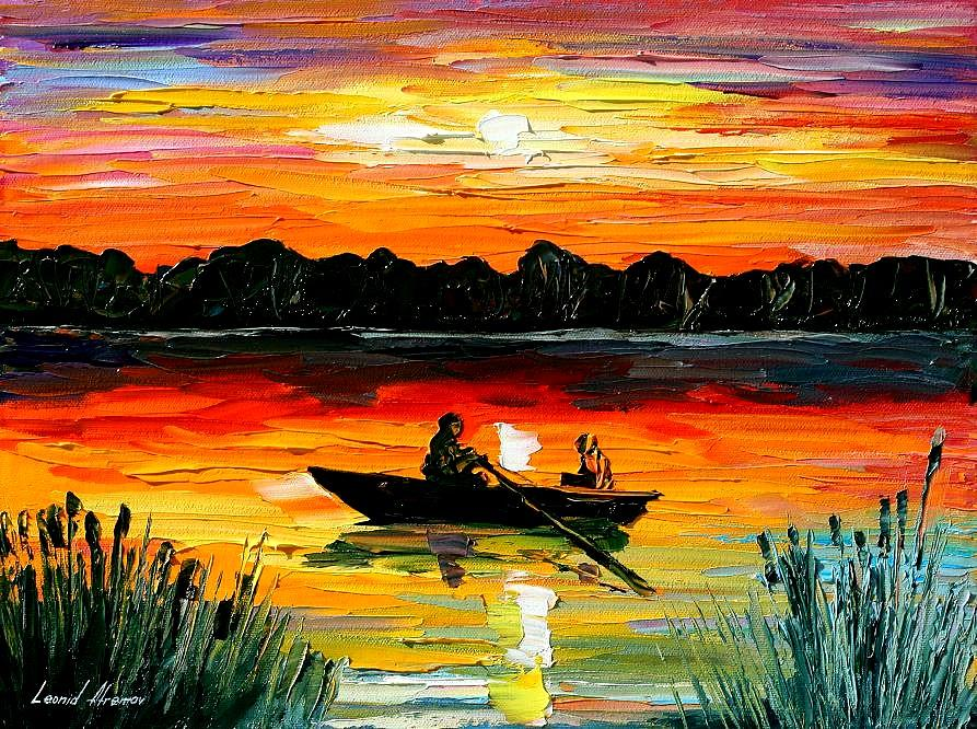 Sunset Over The Lake Painting by Leonid Afremov