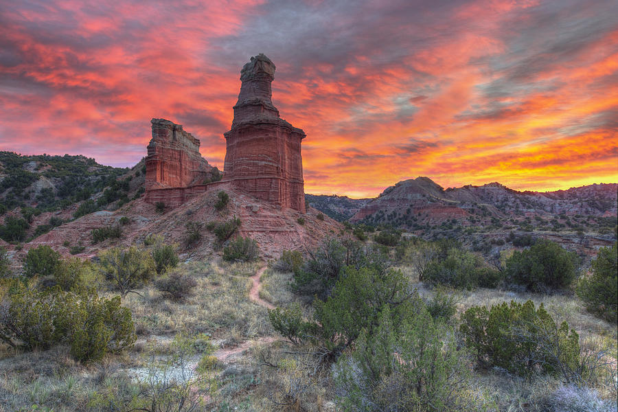 Sunset Over The Lighthouse At Palo Duro Canyon 1 ...
