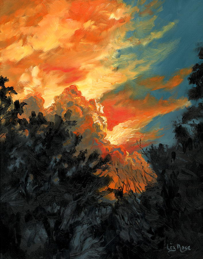 Landscape Painting - Sunset Over The Little Wekiva by Liz Rose