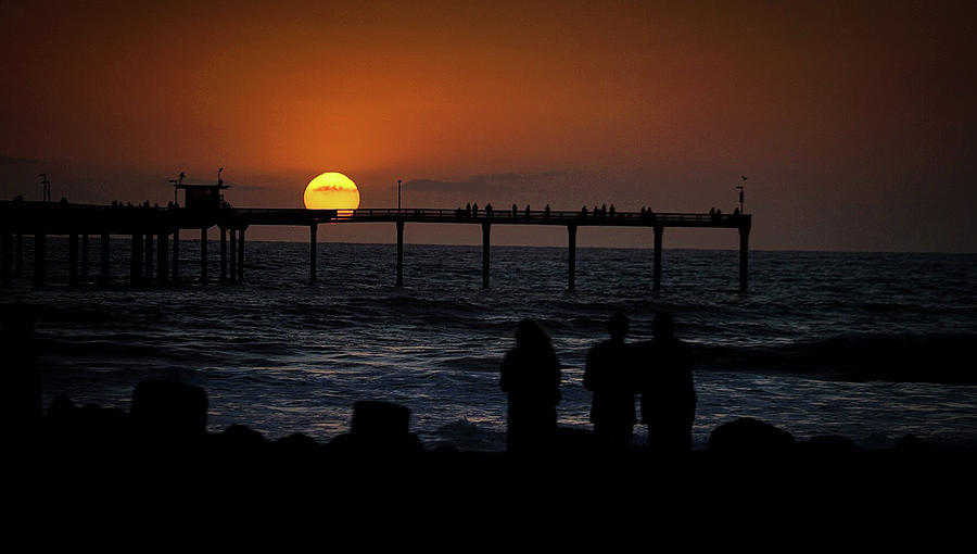 Seascape Photograph - Sunset Over the Pier by Ryan Smith