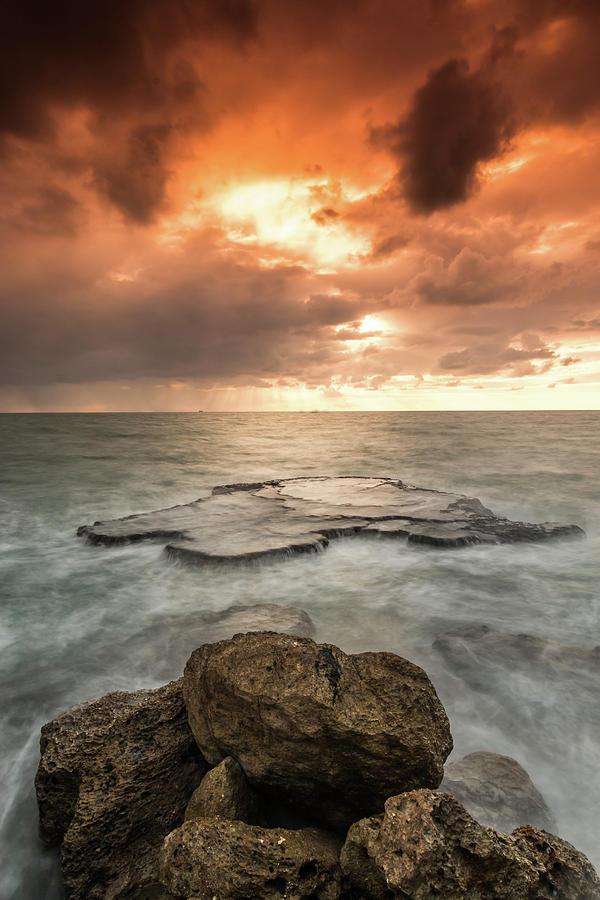 Sunset Photograph - Sunset Over The Sea In Israel by Yatir Nitzany