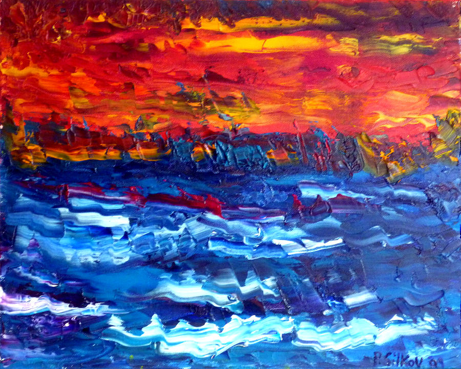 Sunset Painting - Sunset Over The Sea by Peter Silkov