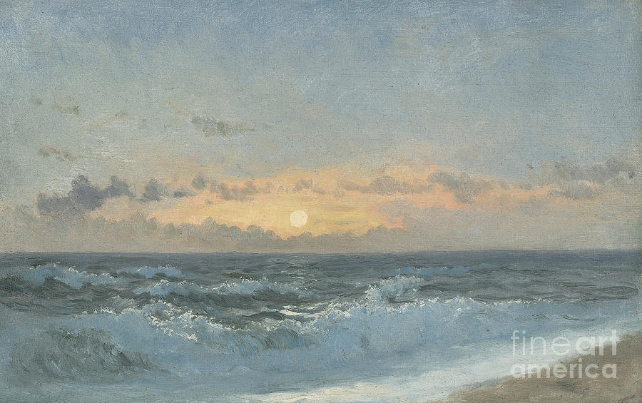 Seascape Painting - Sunset Over The Sea by William Pye