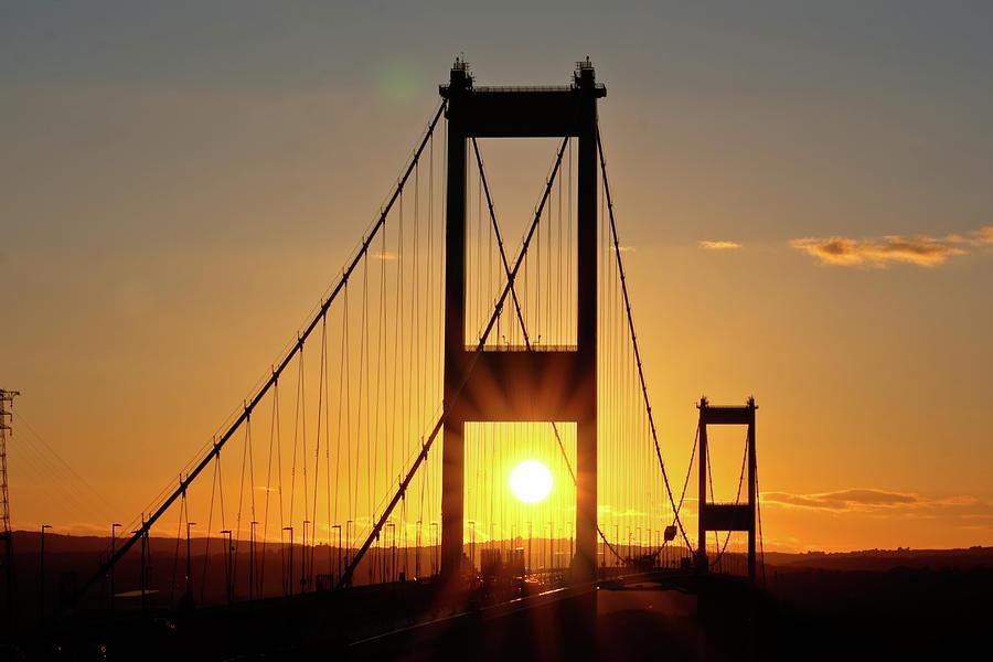 Bridges Photograph - Sunset Over The Severn by Brian Roscorla