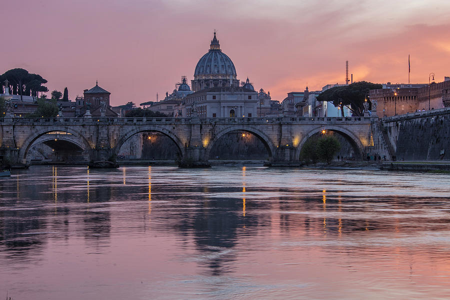 Basilica Photograph - Sunset Over The Vatican  by John McGraw
