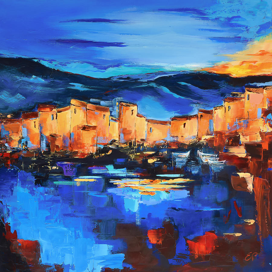 Fauvism Painting - Sunset Over The Village 2 By Elise Palmigiani by Elise Palmigiani