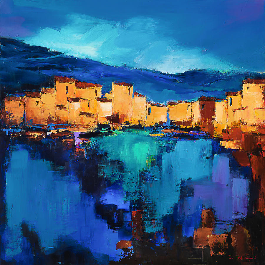 By Painting - Sunset Over The Village 3 By Elise Palmigiani by Elise Palmigiani