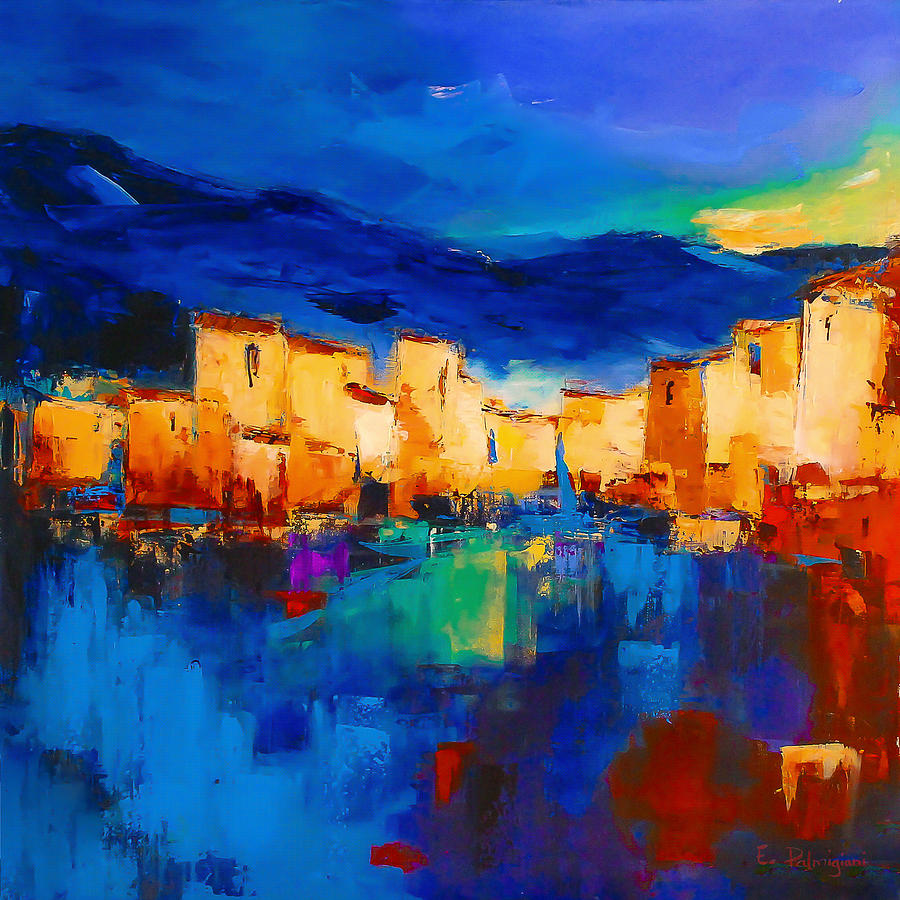 Sunset Over The Village Painting by Elise Palmigiani | title | sunset painting