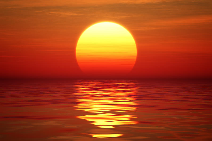 Sunset Over Tranqual Water Photograph