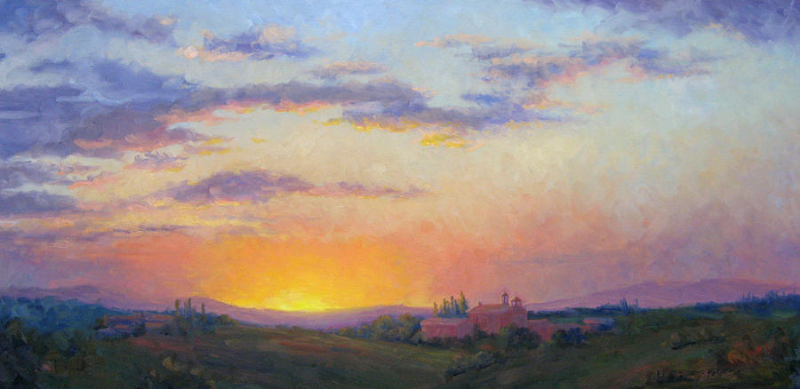 Sunset Painting - Sunset Over Tuscany by Bunny Oliver