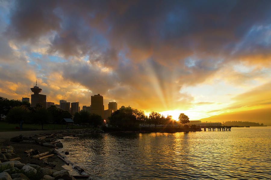Sunset over Vancouver BC at Crab Park by Jit Lim