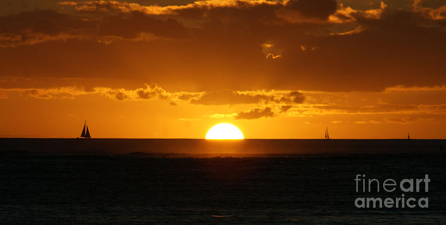Sunset Photograph - Sunset Over Waikiki by Angela DiPietro