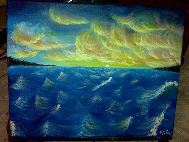 Waterscape Painting - Sunset Over Water by Hollie Leffel