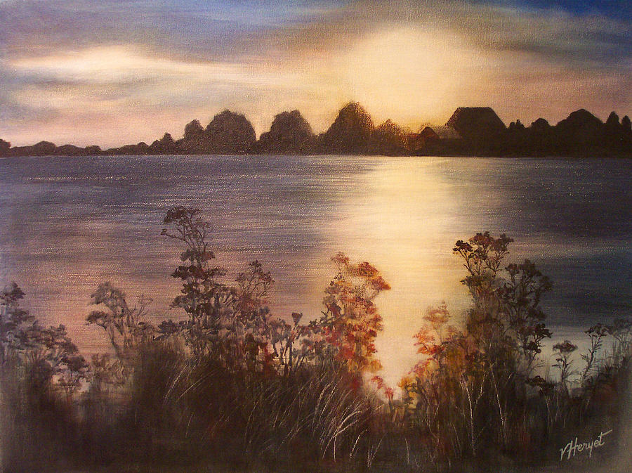 Sunset Painting - Sunset Over Westham Island by Victoria Heryet