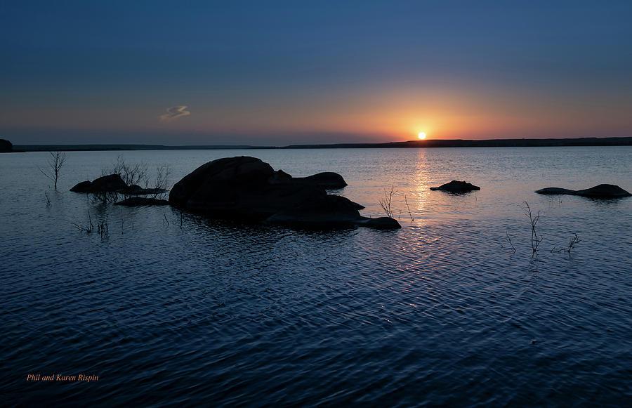 Kansas Photograph - Sunset Over Wilson Lake by Philip Rispin