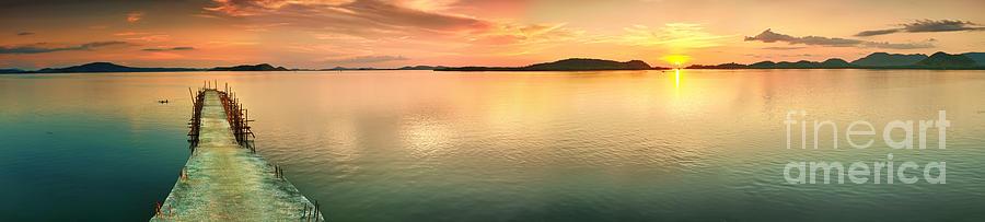 Pier Photograph - Sunset Panorama by MotHaiBaPhoto Prints