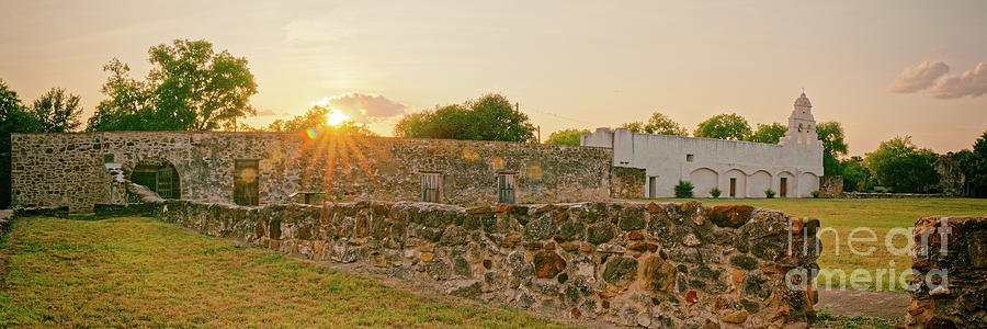 San Antonio Photograph - Sunset Panorama Of San Juan Capistrano And Ruins - San Antonio Missions National Historical Park  by Silvio Ligutti