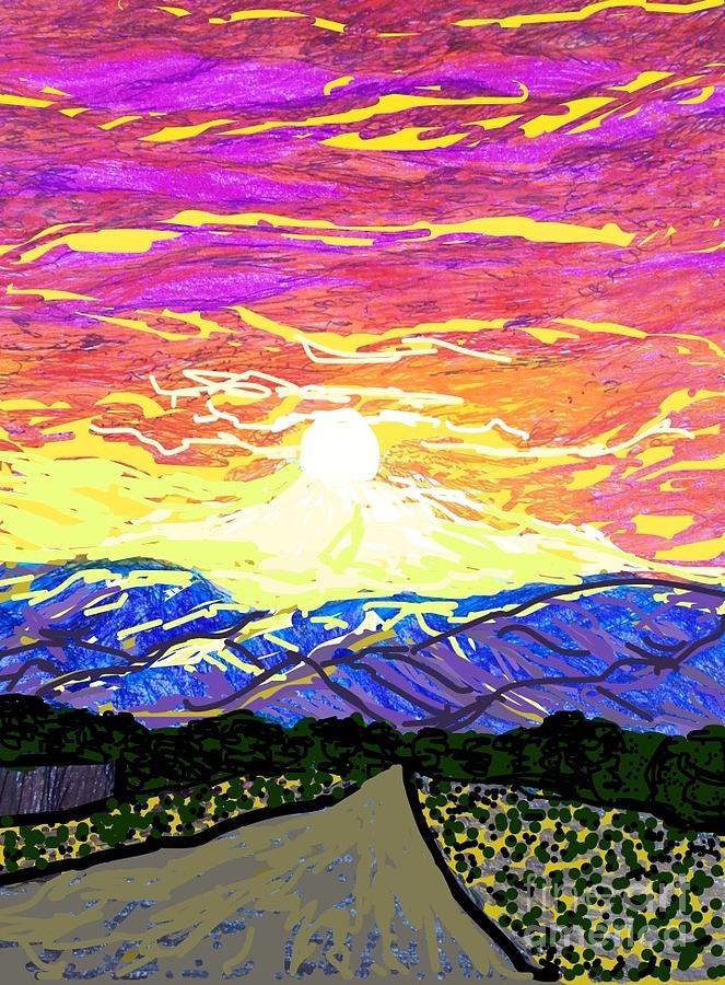 Desert Drawing Mixed Media - Sunset Pearblossom Highway by Ishy Christine MudiArt Gallery