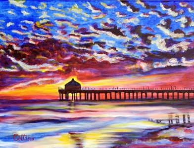 Impressionistic Painting - Sunset Pier by C D  Collins