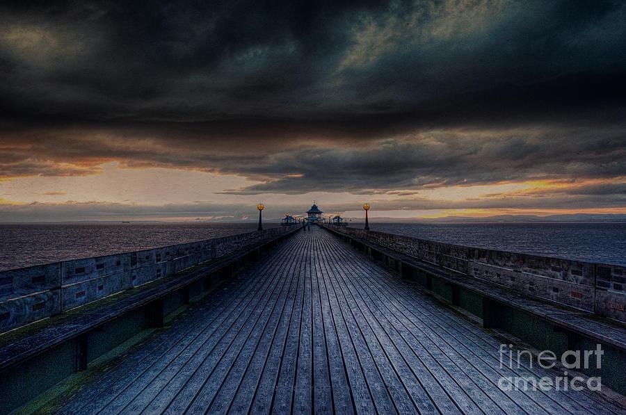 Clevedon Digital Art - Sunset Pier by Nigel Bangert