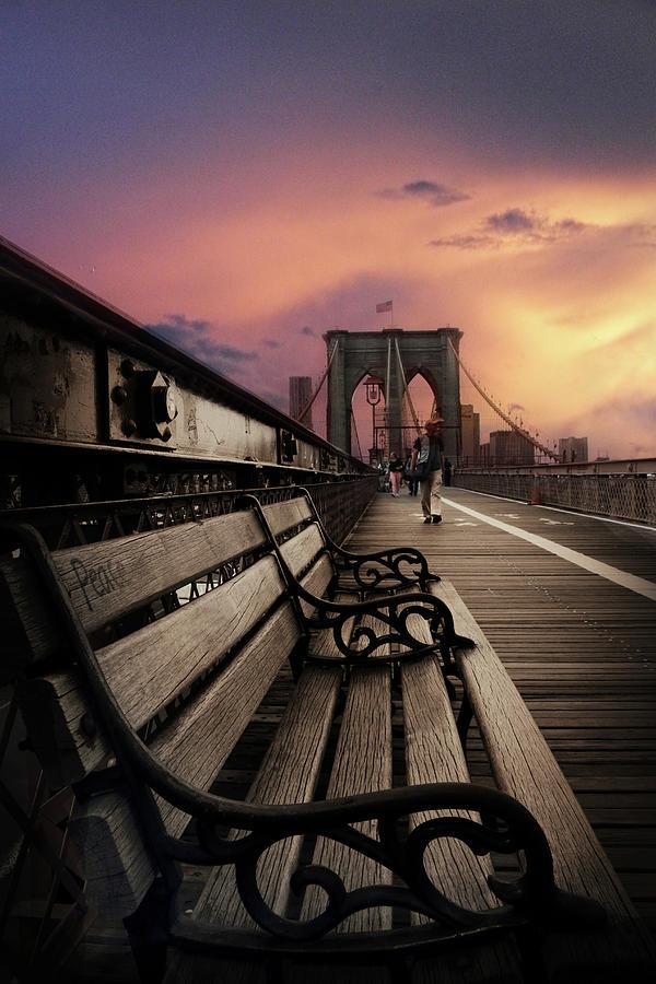 Brooklyn Bridge Photograph - Sunset Promenade by Jessica Jenney