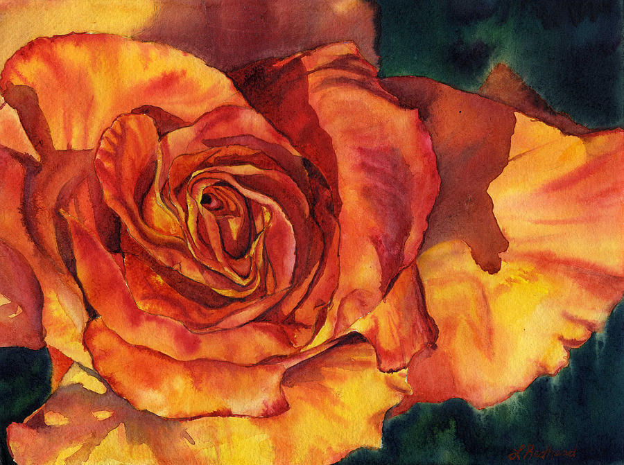 Floral Painting - Sunset Rose by Leslie Redhead
