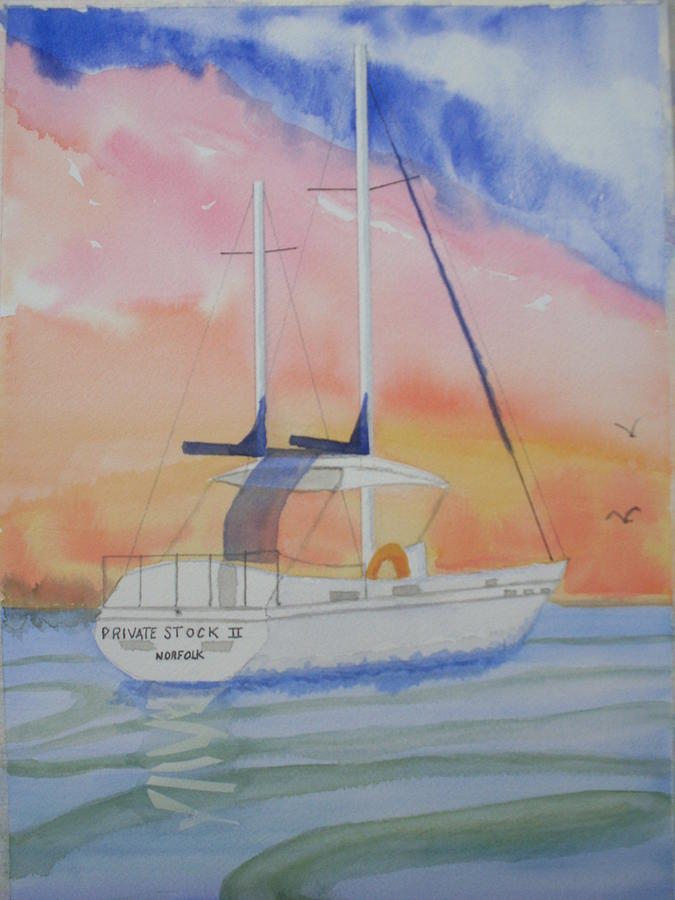 Sunset Sail 2 Painting by Warren Thompson