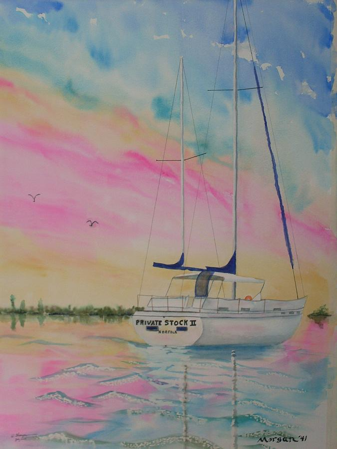 Sailboat Painting - Sunset Sail 3 by Warren Thompson
