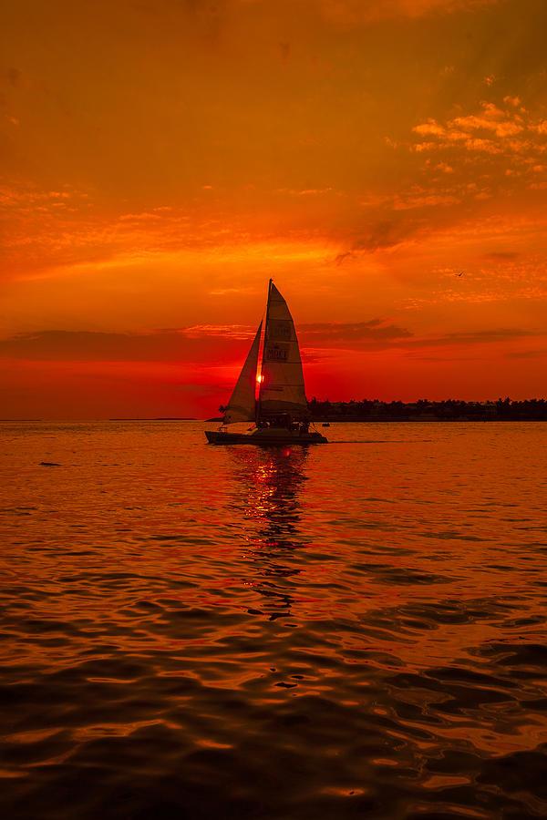 Sailboat Photograph - Sunset Sail by Dan Vidal