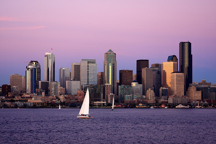 3scape Photos Photograph - Sunset Sail In Puget Sound by Adam Romanowicz