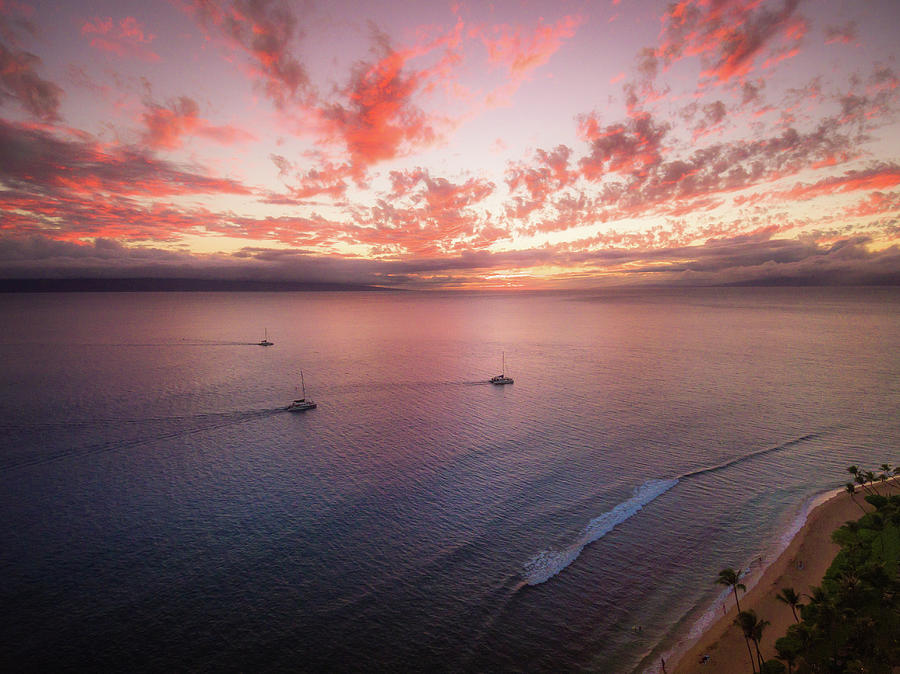 Landscape Photograph - Sunset Sail Kaanapali Maui by Seascaping Photography