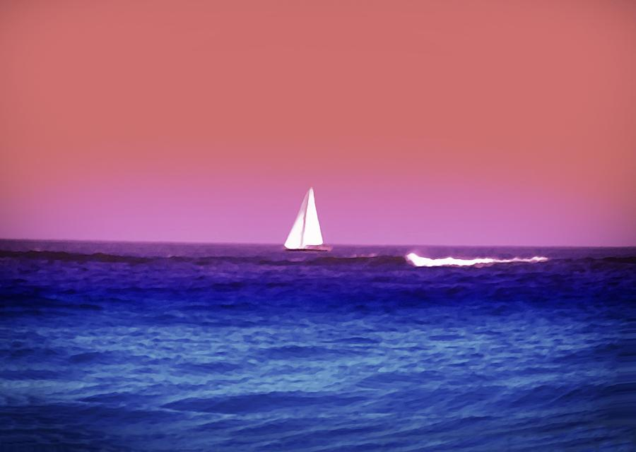 Sunset Photograph - Sunset Sailboat by Bill Cannon