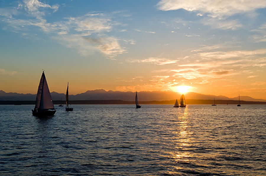 Seattle Photograph - Sunset Sailboats by Tom Dowd