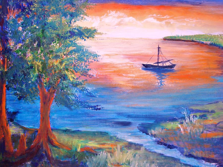 Boat Painting - Sunset Sailing by Anne Dentler