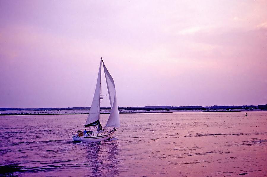 Sailboat Photograph - Sunset Sailing by Bill Jonscher