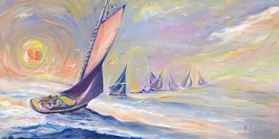 Sunset Sailing Painting by Bob Pittman