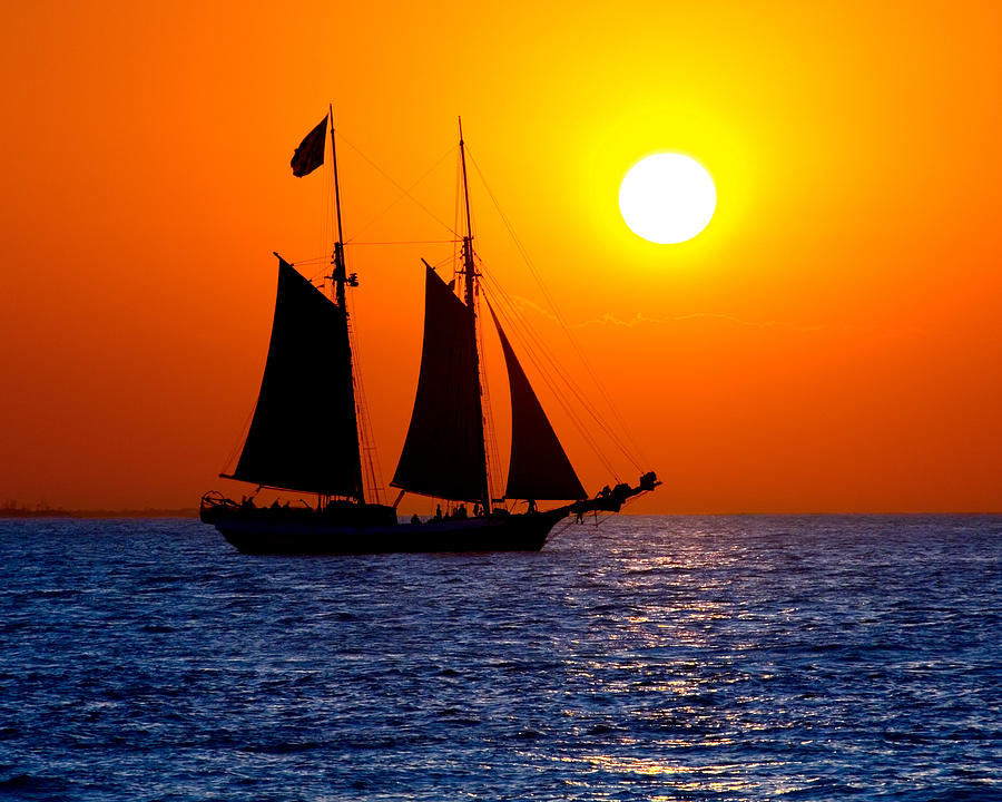 Yellow Photograph - Sunset Sailing In Key West Florida by Michael Bessler