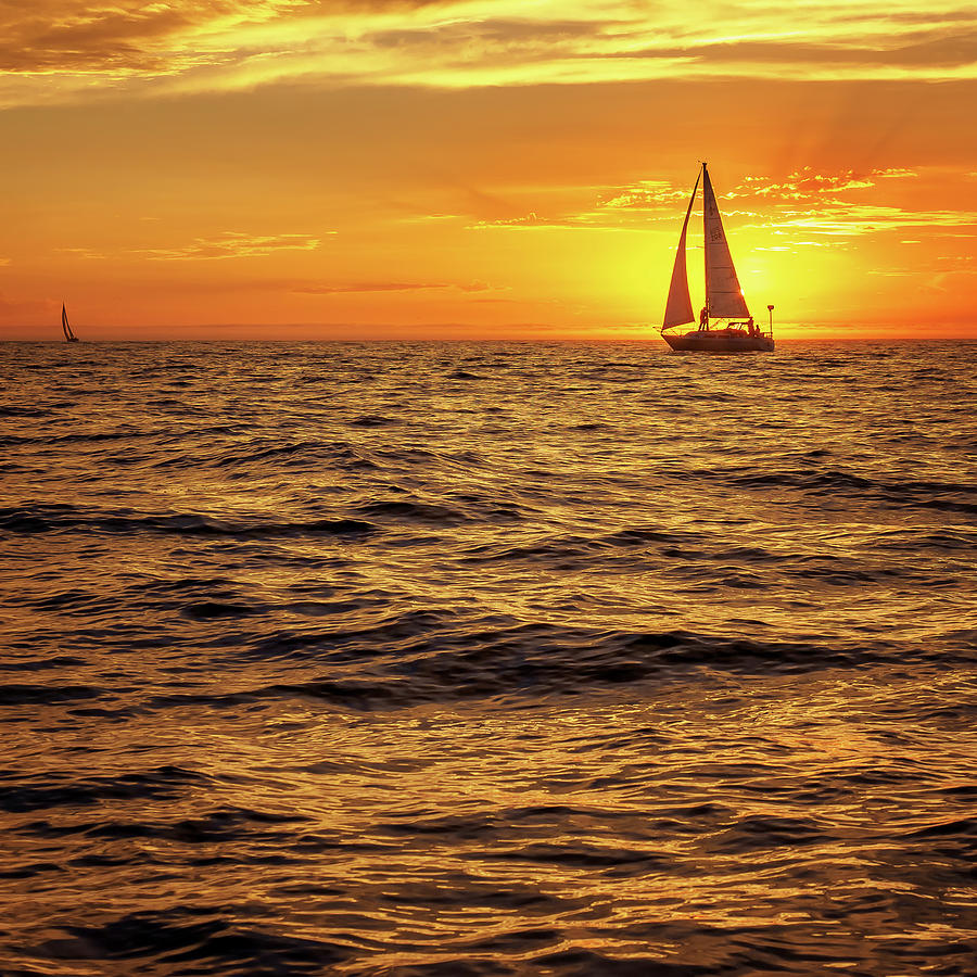 Sunset Photograph - Sunset Sailing by Steve Spiliotopoulos