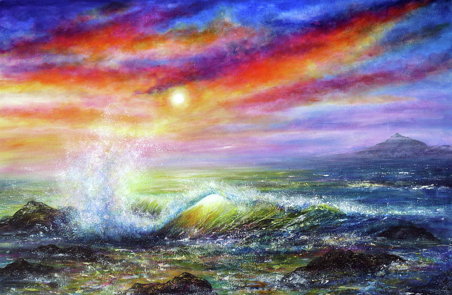 Hand Painted Painting - Sunset Sea by Ann Marie Bone