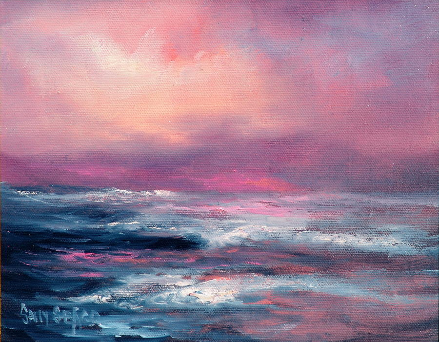 Seascape Painting - Sunset Sea by Sally Seago