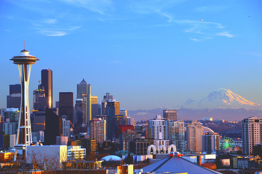 Great Wheel Photograph - Sunset Seattle by Brian OKelly